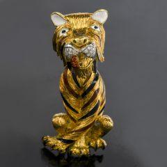 Vintage  Diamond Italian Enamel Large Tiger 18k Gold  Brooch Pin