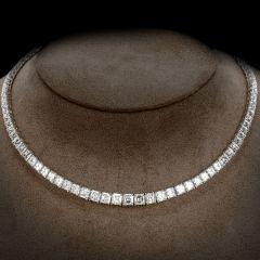 Estate Asscher- Cut Diamond 32.55cts Platinum Tennis Necklace