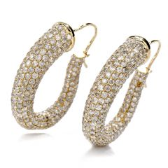 12.49 Carat Diamond 14K Yellow Gold Drop Hoop Earrings