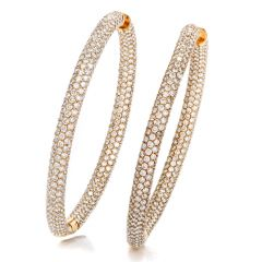 16.64 Carat Diamond 14K Rose Gold Large Round Hoop Earrings