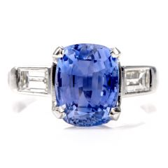 dover jewelry Natural No Heat  GIA Cylon Blue Sapphire Diamond Platinum Three Stone Ring
