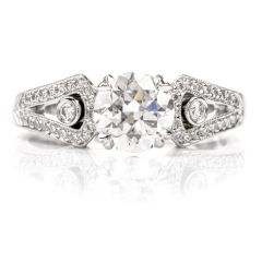BEADREY GIA  European Round Diamond Platinum Engagement Ring