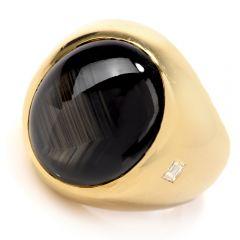 Estate Large Sapphire Diamond Men  Gypsy Signet Heavy 18k Gold Ring