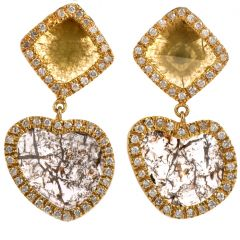 Estate 6.60 carats Rose Diamond 14K Gold Dangle Drop Earrings