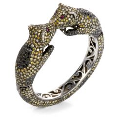 Estate Fancy Diamond Ruby Gold Sterling Silver Leopard Cuff Bracelet