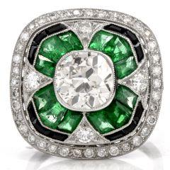 Art Deco Style Large Cushion Diamond Emerald onyx Platinum Ring