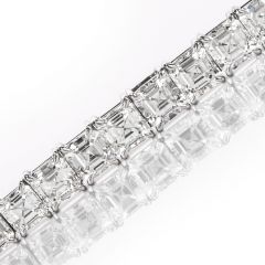 Estate Asscher- Cut Diamond 32.55cts Platinum Tennis Necklace