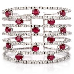 Estate Diamond Ruby 18k White Gold Cuff Bangle Bracelet