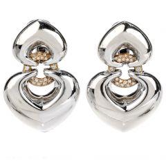BVLGARI Diamond 18K Gold Heart Drop Bulgari Earrings