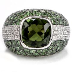 Estate Diamond Tourmaline Tsavorite 18K Gold Cluster Cocktail Ring