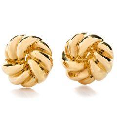 Estate Large Love Knot 18K Gold Earrings