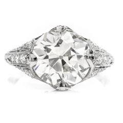 Antique 4.49ct European Cut Diamond Platinum Engagement Ring