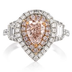 GIA Natural Fancy Orangy Pink Diamond Platinum Engagement Ring
