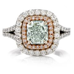 Natural GIA Fancy Green Diamond 18K Halo Engagement Ring