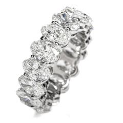 NEW GIA Oval 8.04ct Diamond Platinum Eternity Band Ring Size 7