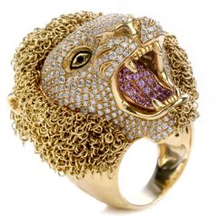 Roberto Coin Diamond 18K Gold Lion Masterpiece Limited Edition Ring