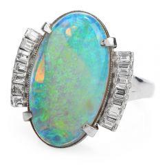 GIA Estate White Opal Diamond Platinum Cocktail Ring
