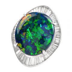Estate GIA Black Opal Diamond Platinum Cocktail Ballerina Ring