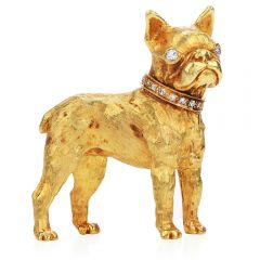 Vintage French Bulldog Diamond 18K Gold Textured Brooch Pin