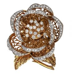 Hammerman Brothers Vintage Dimond 18K Gold Flower Brooch
