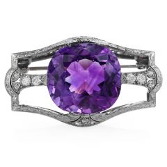 Antique Cushion Amethyst Diamond Platinum Brooch Pin