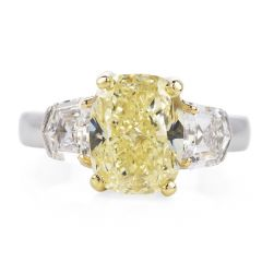Estate 4.66ct GIA Certified Fancy Light Yellow Three Stone Engagement Ring