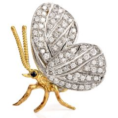 Vintage Butterfly Diamond Platinum !8k Gold Pin