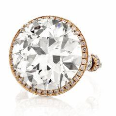 21.06ct European Cut Natural Diamond Platinum 18K Gold Engagement Ring