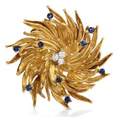 Tiffany & Co Vintage Diamond Sapphire Floral Motif 18k Gold Pin Brooch