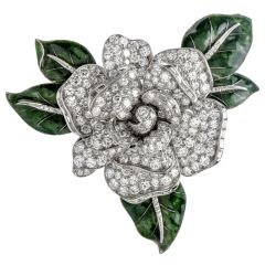 Cartier Paris Vintage 12.00ct Diamond Platinum Moveable Flower Pin