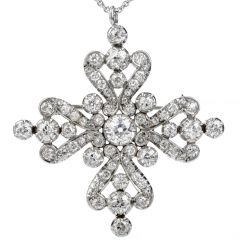 Antique Edwardian 8.40ct Diamond Platinum Cross Pin Pendant