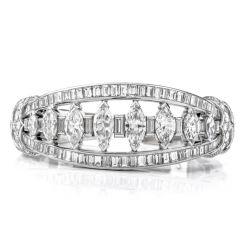 Antique Deco 16.95ct Marquise Diamond Platinum Cuff Bangle Bracelet