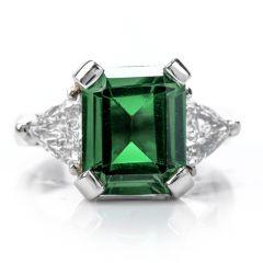 Estate 6.70ct Diamond Green Tourmaline Platinum Three Stone Ring