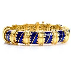 1980's Chic Blue Enamel 18k Yellow Gold Bangel Bracelet