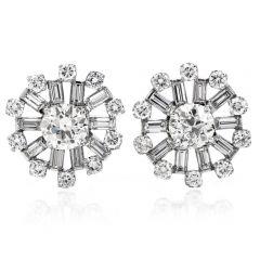 Vintage 6.25 carats European Cut Diamond Platinum Round Stud Earrings