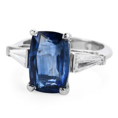 GIA Certified 6.15cts  Ceylon No Heat Natural Sapphire and Diamond Platinum Ring