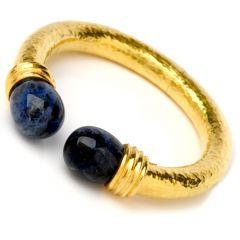 Antique LALAOUNIS Sodalite 22K Gold Textured Cuff Bracelet