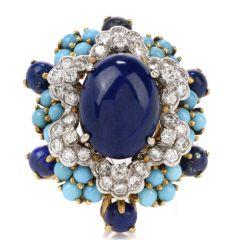 Vintage Turquoise, Lapis and Diamond 18K Floret Cocktail Fashion Ring