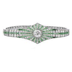 Vintage Art Deco Diamond Emerald Platinum Starburst Bracelet
