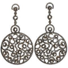Estate Diamond 14K Gold Large Rose Cut Drop Dangle Earrings