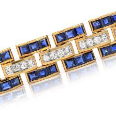 Vintage Diamond Sapphire 18K Gold Wide Link Bracelet