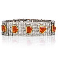 Estate Diamond Fire Opal 18K Gold Deco Wide Bracelet