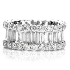 Estate Diamond 14K Gold 5.92ct Eternity Band Ring
