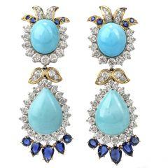 Estate Diamond Sapphire & Turquoise 18K Gold Drop Dangle Earrings