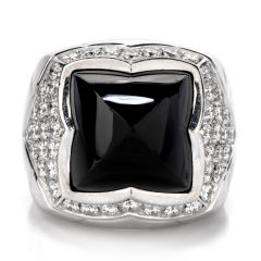 Bvlgari Diamond Onyx 18K Gold Pyramid Cabochon Ring