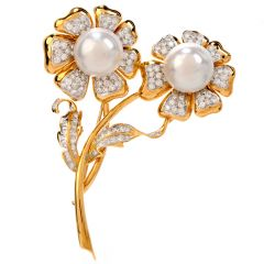 Estate Diamond Pearl 18K Gold Double Flower Pin Brooch