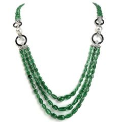 Diamond Emerald Pearl & Onyx 18K Gold Multistrand Bead Necklace
