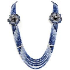 Diamond Sapphire 18K Gold Flower Multistrand Ombre Necklace Brooch