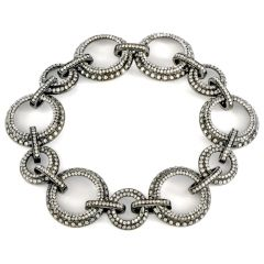 Estate Diamond 18K Gold Circle Chain Link Bracelet