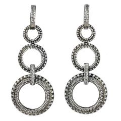 Estate Diamond 18K Gold Circle Dangle Drop Earrings
